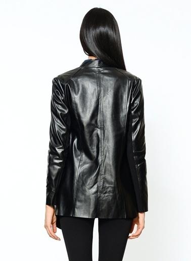 Koton Deri Görünümlü Ceket Siyah